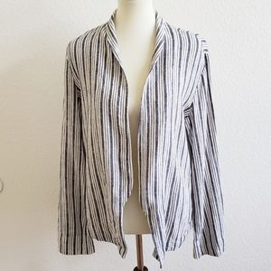 Sanctuary Linen Blue Striped Jacket Top Large